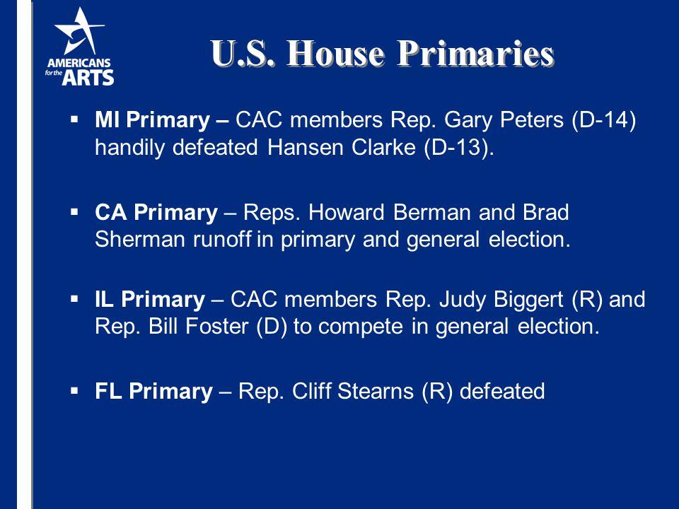 U.S. House Primaries  MI Primary – CAC members Rep. Gary Peters (D-14) handily defeated Hansen Clarke (D-13).  CA Primary – Reps. Howard Berman and