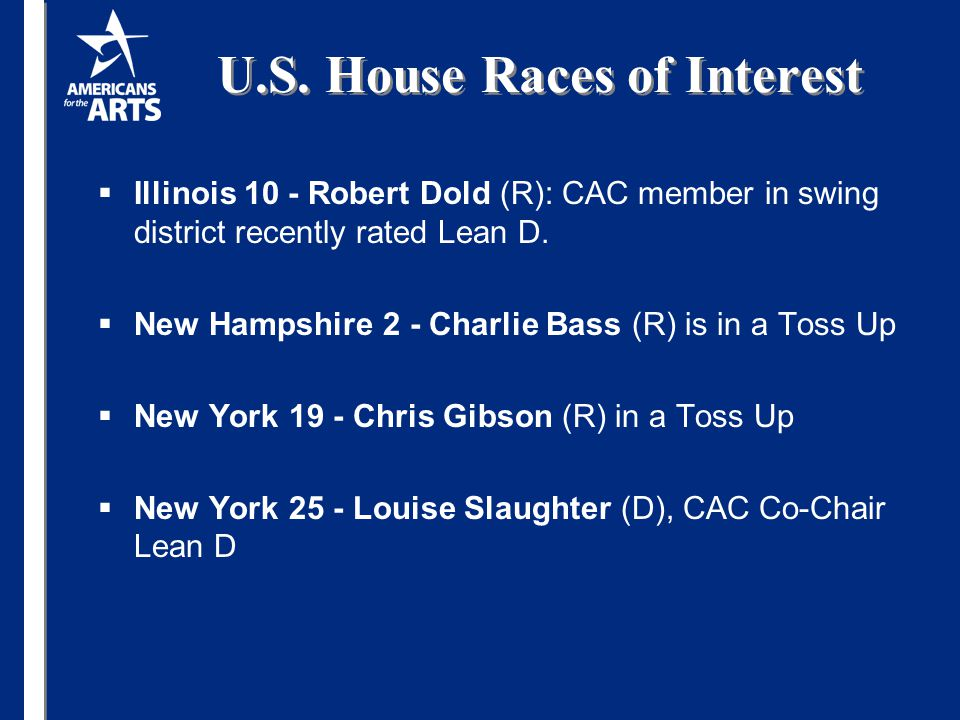 U.S. House Races of Interest  Illinois 10 - Robert Dold (R): CAC member in swing district recently rated Lean D.  New Hampshire 2 - Charlie Bass (R)