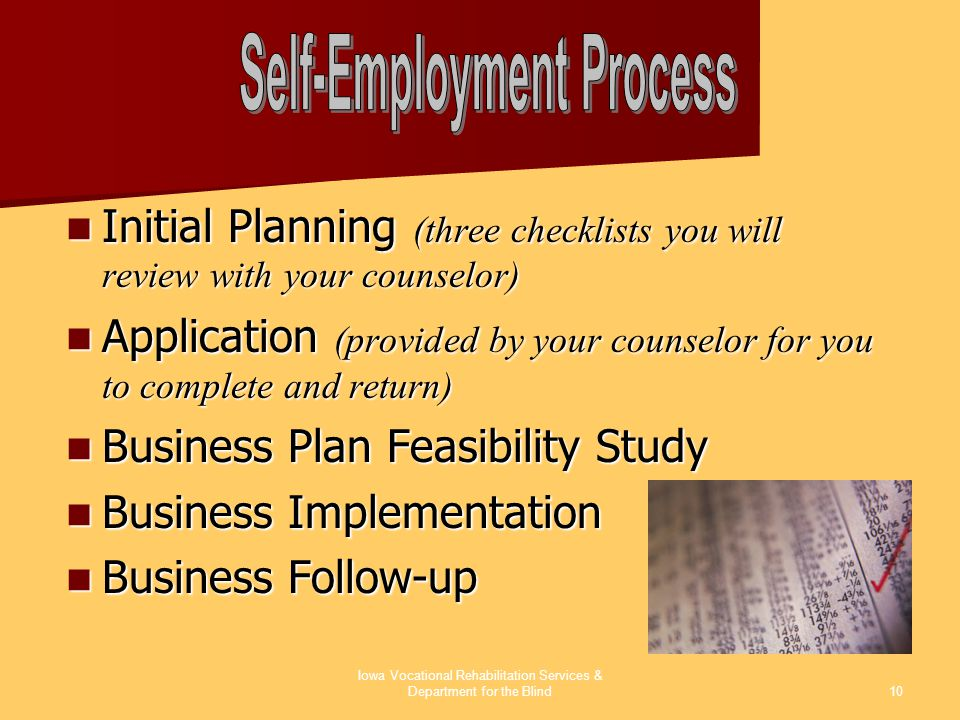 Iowa Vocational Rehabilitation Services & Department for the Blind10 Initial Planning (three checklists you will review with your counselor) Initial P