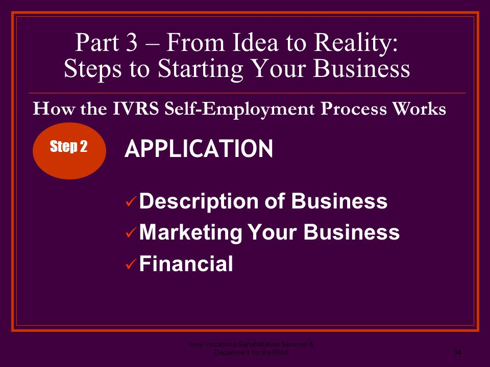 Iowa Vocational Rehabilitation Services & Department for the Blind34 Part 3 – From Idea to Reality: Steps to Starting Your Business APPLICATION Descri