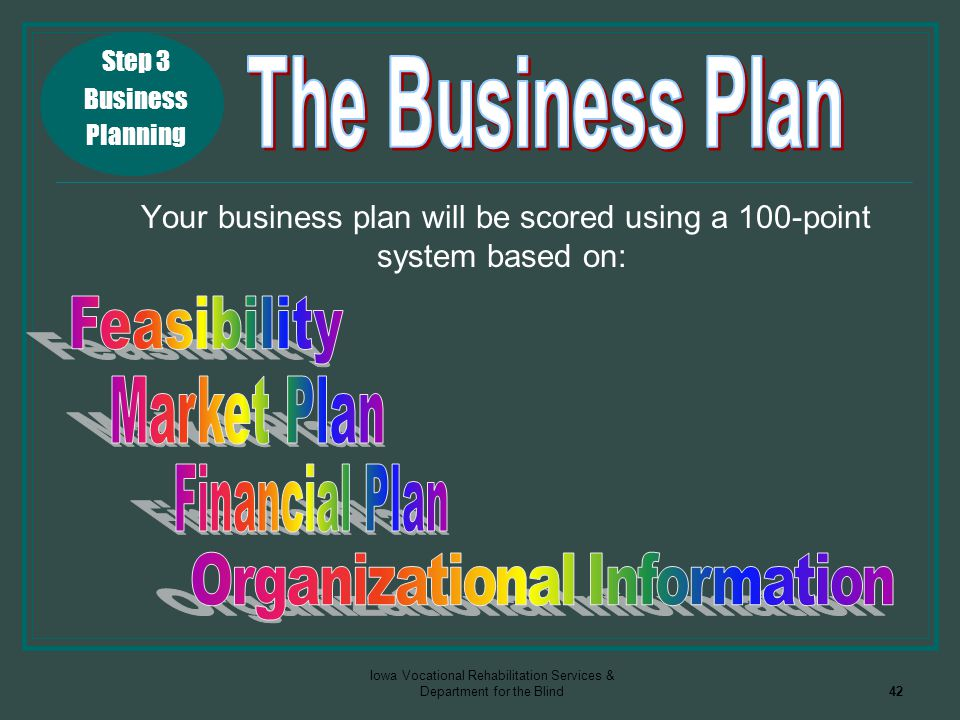 Iowa Vocational Rehabilitation Services & Department for the Blind42 Your business plan will be scored using a 100-point system based on: Step 3 Busin