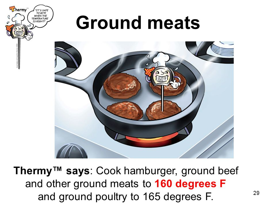 29 Ground meats Thermy™ says: Cook hamburger, ground beef and other ground meats to 160 degrees F and ground poultry to 165 degrees F.