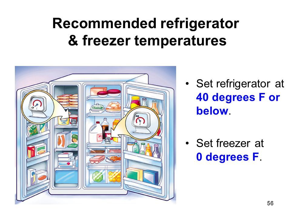 56 Recommended refrigerator & freezer temperatures Set refrigerator at 40 degrees F or below. Set freezer at 0 degrees F.