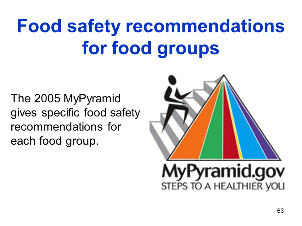 63 The 2005 MyPyramid gives specific food safety recommendations for each food group. Food safety recommendations for food groups
