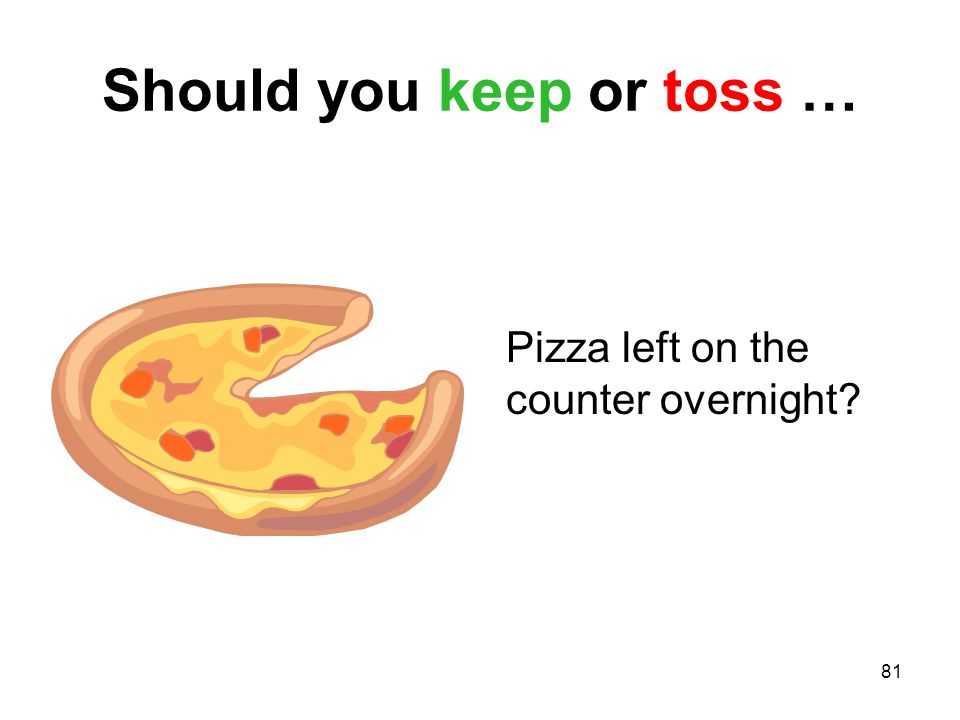 81 Should you keep or toss … Pizza left on the counter overnight?