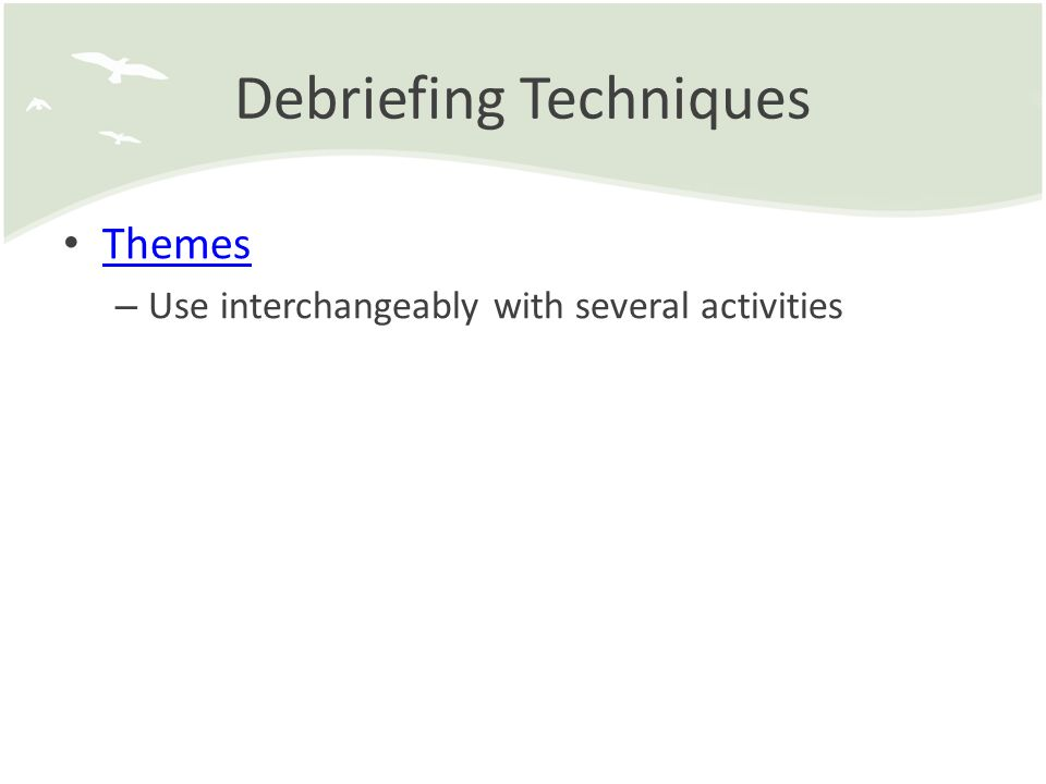 Debriefing Techniques Themes – Use interchangeably with several activities
