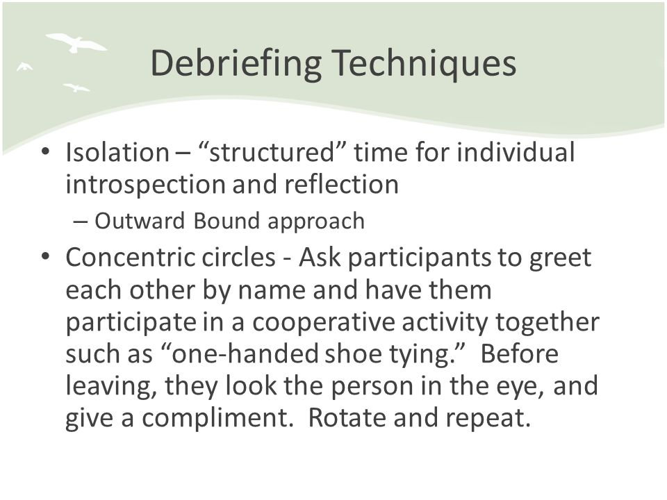 Debriefing Techniques Index cards – processing Qs on index cards completed in dyads or triads (done earlier) Quick toss - Toss an object around the circle and when caught, participants answer a predetermined question or can share a thought, compliment, or experience.