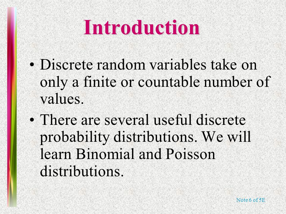 Note 6 of 5E The Binomial Random Variable coin-tossing experiment binomial random variable.