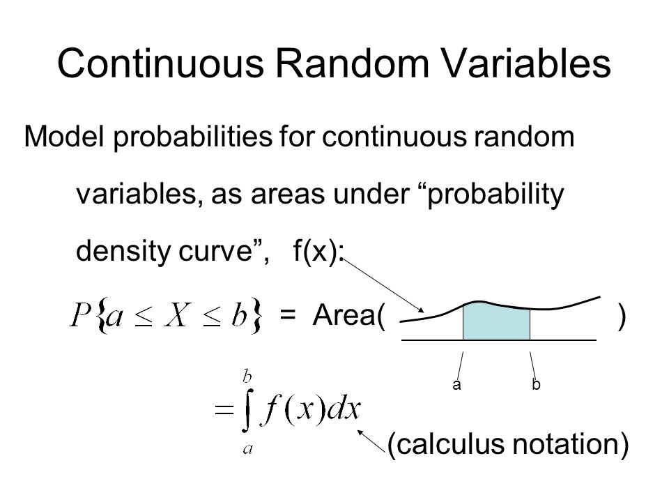 Continuous Random Variables Model probabilities for continuous random variables, as areas under probability density curve , f(x): = Area( ) a b (calculus notation)