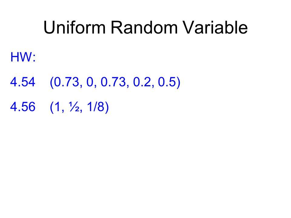 Uniform Random Variable HW: 4.54 (0.73, 0, 0.73, 0.2, 0.5) 4.56 (1, ½, 1/8)