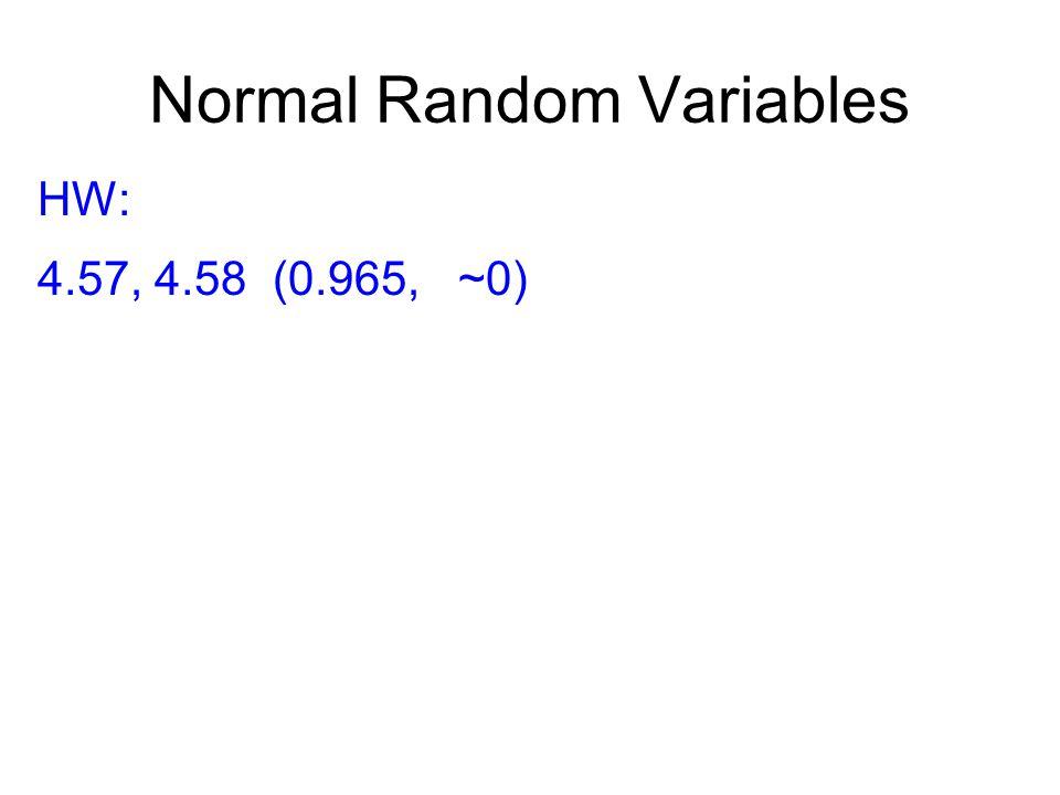 Normal Random Variables HW: 4.57, 4.58 (0.965, ~0)