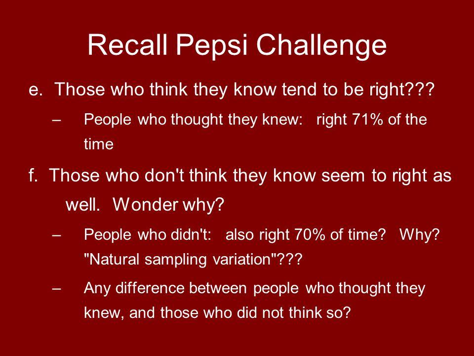 Recall Pepsi Challenge g.