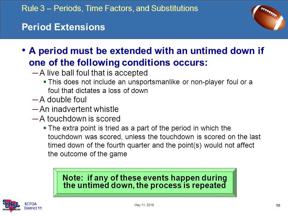 Rule 3 – Periods, Time Factors, and Substitutions 10 May 11, 2015 SCFOA District 11 Period Extensions A period must be extended with an untimed down if one of the following conditions occurs: ─ A live ball foul that is accepted  This does not include an unsportsmanlike or non-player foul or a foul that dictates a loss of down ─ A double foul ─ An inadvertent whistle ─ A touchdown is scored  The extra point is tried as a part of the period in which the touchdown was scored, unless the touchdown is scored on the last timed down of the fourth quarter and the point(s) would not affect the outcome of the game Note: if any of these events happen during the untimed down, the process is repeated