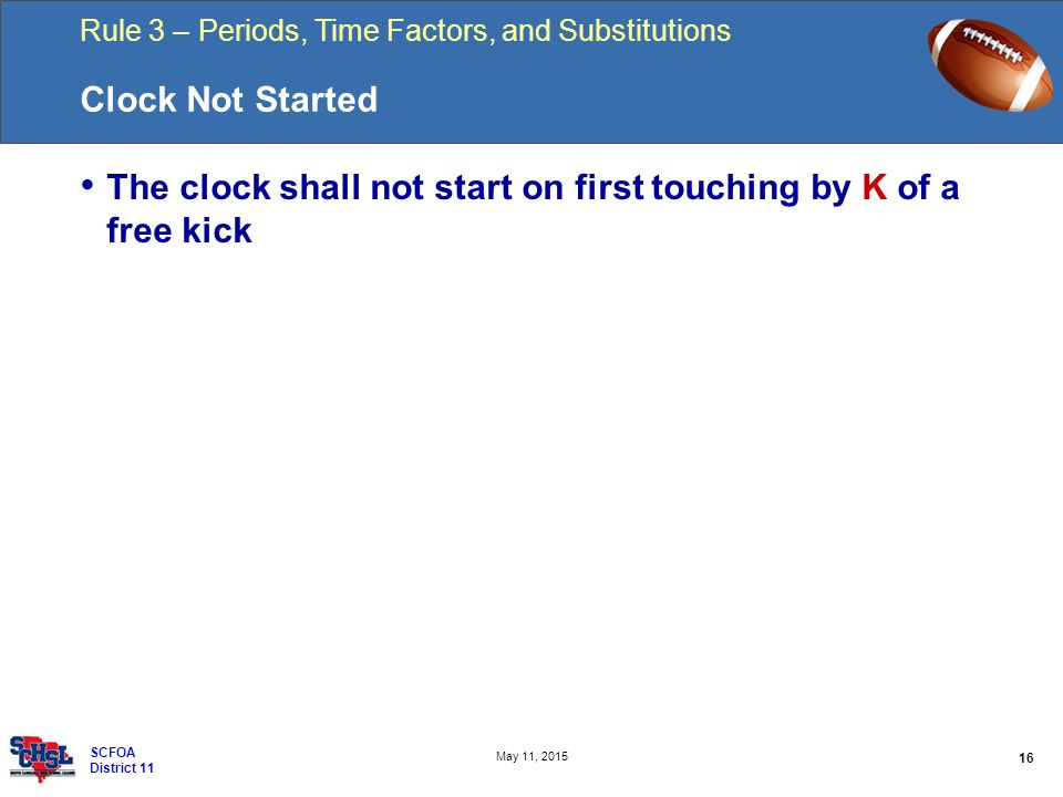 Rule 3 – Periods, Time Factors, and Substitutions 16 May 11, 2015 SCFOA District 11 Clock Not Started The clock shall not start on first touching by K of a free kick