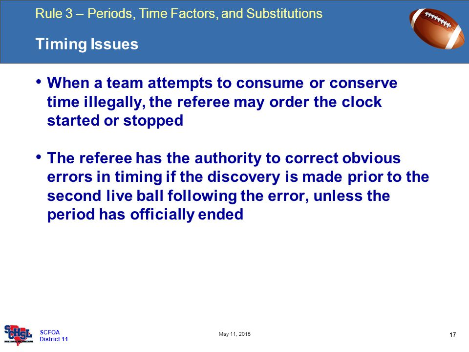 Rule 3 – Periods, Time Factors, and Substitutions 17 May 11, 2015 SCFOA District 11 Timing Issues When a team attempts to consume or conserve time illegally, the referee may order the clock started or stopped The referee has the authority to correct obvious errors in timing if the discovery is made prior to the second live ball following the error, unless the period has officially ended