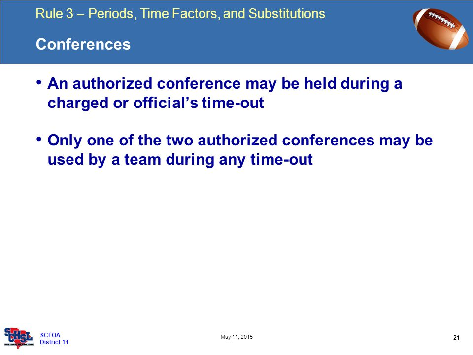 Rule 3 – Periods, Time Factors, and Substitutions 21 May 11, 2015 SCFOA District 11 Conferences An authorized conference may be held during a charged or official's time-out Only one of the two authorized conferences may be used by a team during any time-out
