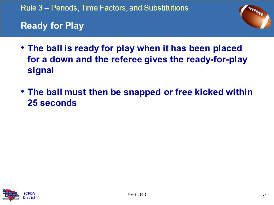 Rule 3 – Periods, Time Factors, and Substitutions 23 May 11, 2015 SCFOA District 11 Ready for Play The ball is ready for play when it has been placed for a down and the referee gives the ready-for-play signal The ball must then be snapped or free kicked within 25 seconds