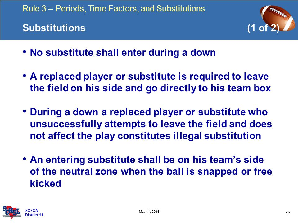 Rule 3 – Periods, Time Factors, and Substitutions 26 May 11, 2015 SCFOA District 11 Substitutions(1 of 2) No substitute shall enter during a down A replaced player or substitute is required to leave the field on his side and go directly to his team box During a down a replaced player or substitute who unsuccessfully attempts to leave the field and does not affect the play constitutes illegal substitution An entering substitute shall be on his team's side of the neutral zone when the ball is snapped or free kicked