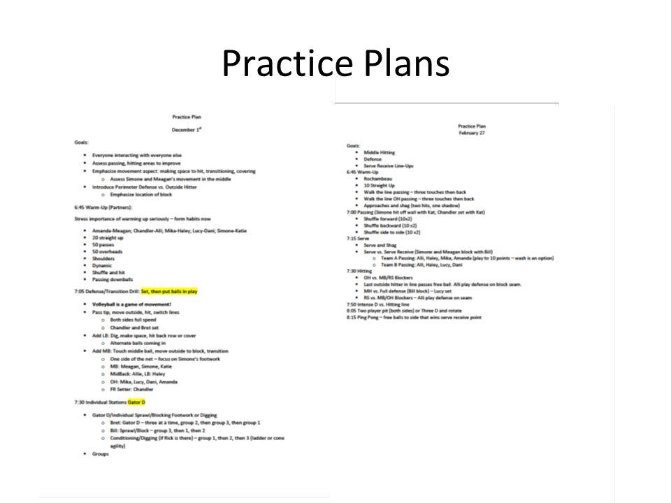 Practice Plans
