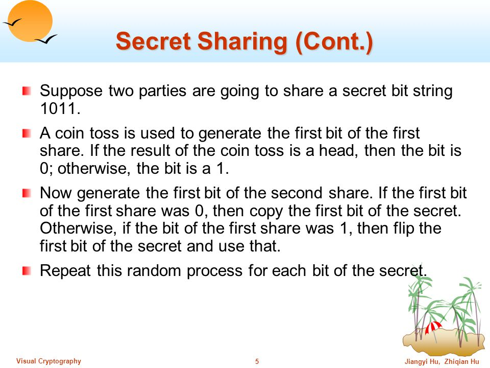 Jiangyi Hu, Zhiqian Hu4 Visual Cryptography Secret Sharing The General Idea All n parties can get together and recover secret s.