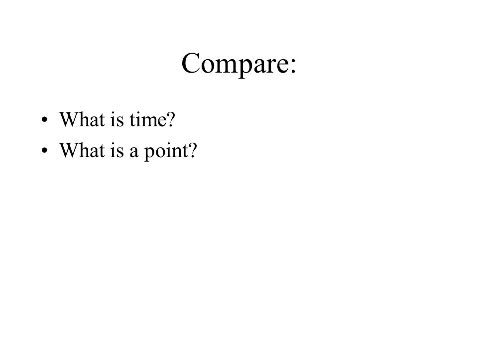 Compare: What is time What is a point