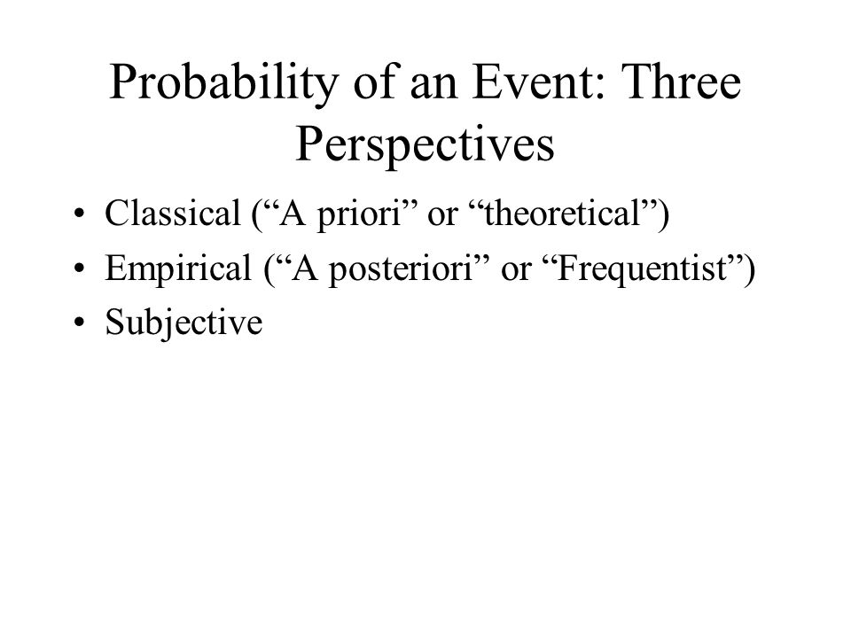 Probability of an Event: Three Perspectives Classical ( A priori or theoretical ) Empirical ( A posteriori or Frequentist ) Subjective