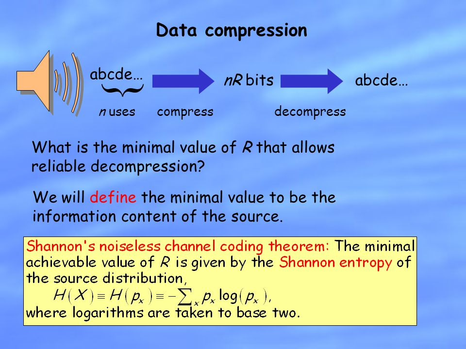 Data compression abcde… { n uses nR bits compressdecompress abcde… What is the minimal value of R that allows reliable decompression? We will define t