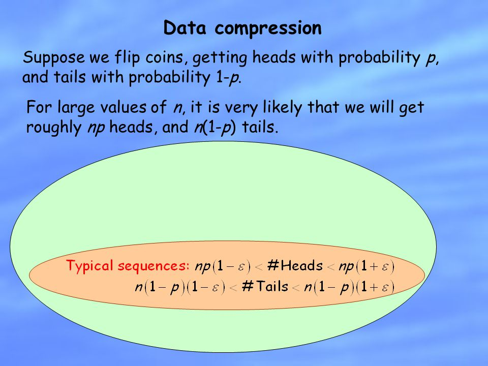 Data compression Suppose we flip coins, getting heads with probability p, and tails with probability 1-p.