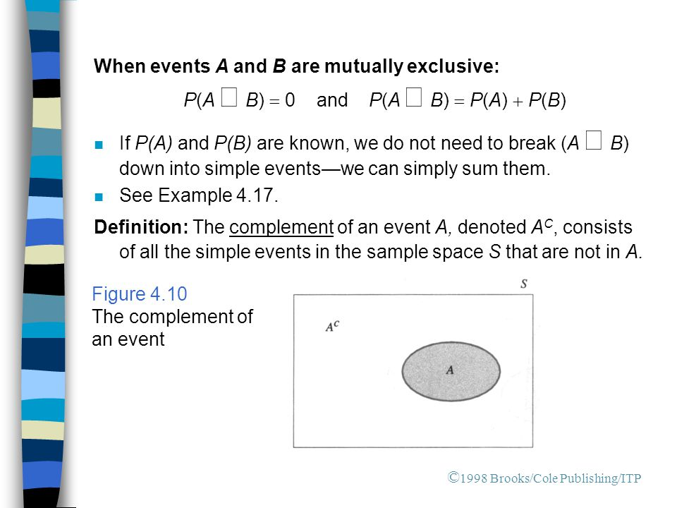 When events A and B are mutually exclusive: P(A  B)  0 and P(A  B)  P(A)  P(B) If P(A) and P(B) are known, we do not need to break (A  B) dow