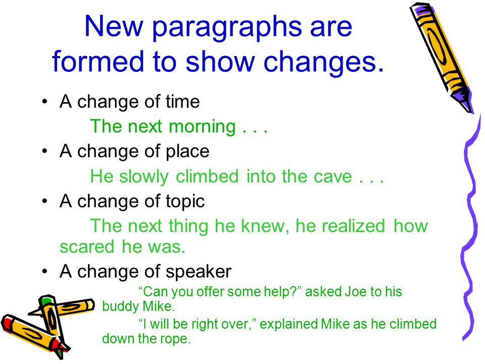 New paragraphs are formed to show changes.A change of time The next morning...