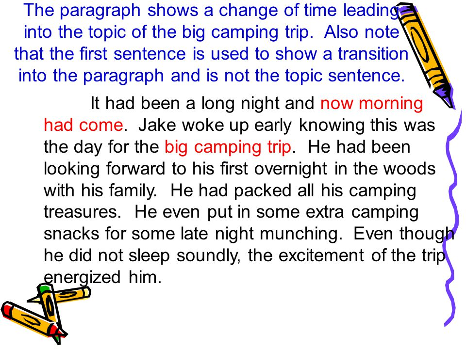 The paragraph shows a change of time leading into the topic of the big camping trip.