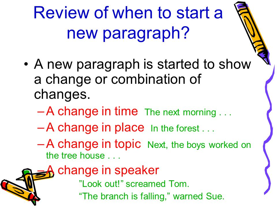 Review of when to start a new paragraph.