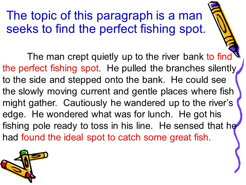 The topic of this paragraph is a man seeks to find the perfect fishing spot.
