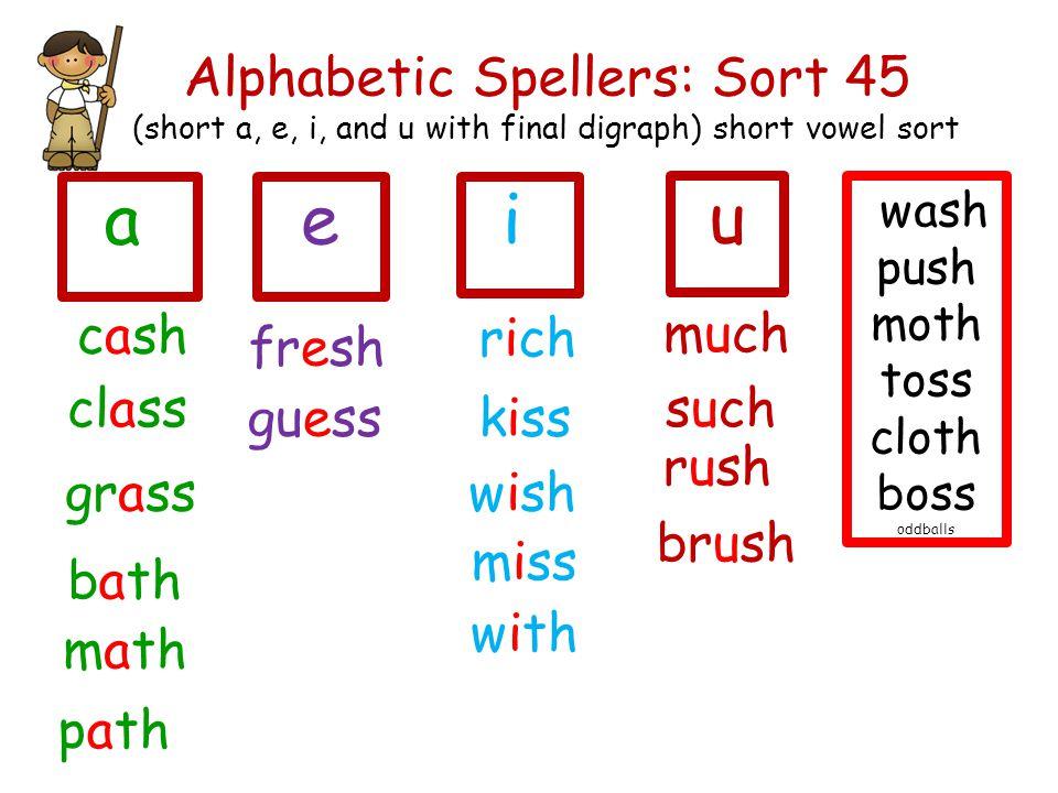 Alphabetic Spellers: Sort 45 (short a, e, i, and u with final digraph) short vowel sort fresh cash class ie guess grass rich kiss wish miss bath math