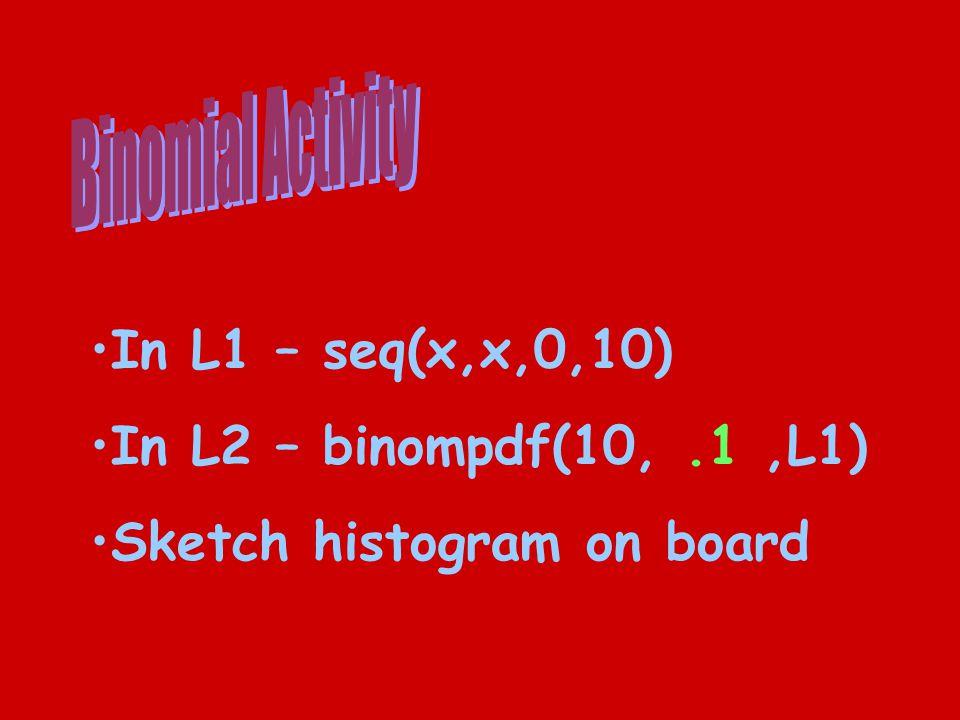 In L1 – seq(x,x,0,10) In L2 – binompdf(10,.1,L1) Sketch histogram on board