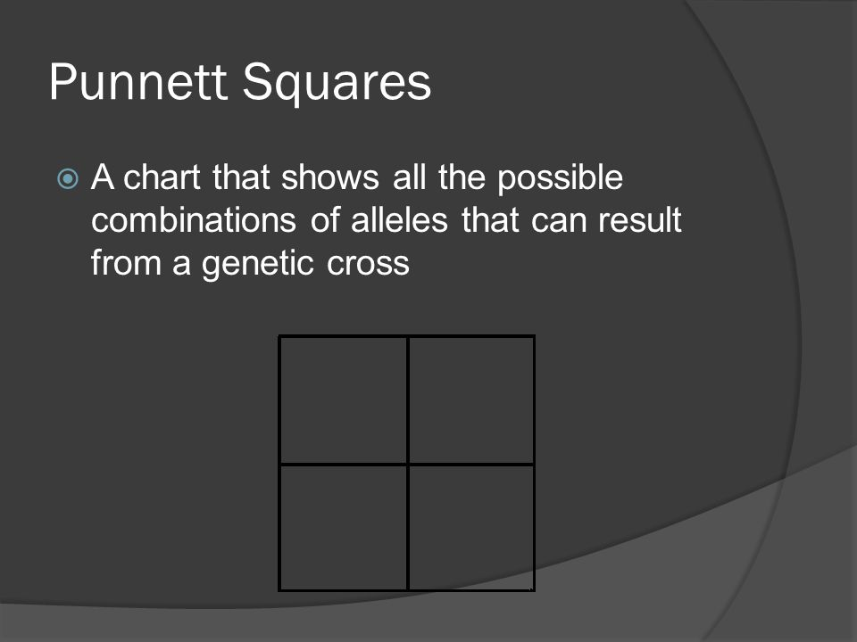 Punnett Squares  A chart that shows all the possible combinations of alleles that can result from a genetic cross