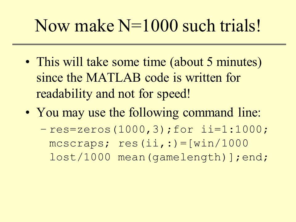 Now make N=1000 such trials.