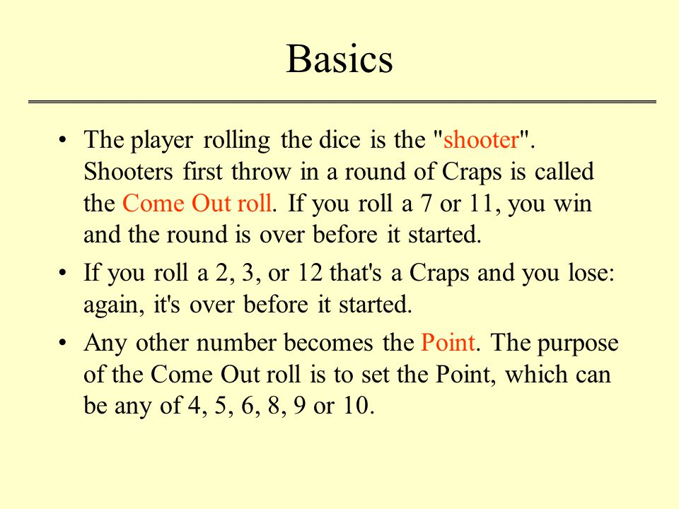Basics The player rolling the dice is the shooter .