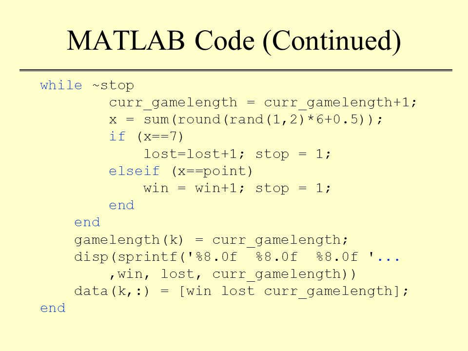 MATLAB Code (Continued) while ~stop curr_gamelength = curr_gamelength+1; x = sum(round(rand(1,2)*6+0.5)); if (x==7) lost=lost+1; stop = 1; elseif (x==point) win = win+1; stop = 1; end gamelength(k) = curr_gamelength; disp(sprintf( %8.0f %8.0f %8.0f ...,win, lost, curr_gamelength)) data(k,:) = [win lost curr_gamelength]; end