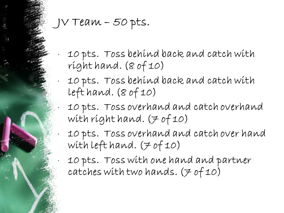 JV Team – 50 pts. · 10 pts. Toss behind back and catch with right hand.