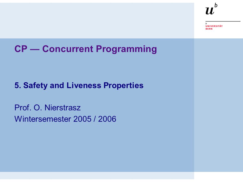 CP — Concurrent Programming 5. Safety and Liveness Properties Prof. O. Nierstrasz Wintersemester 2005 / 2006