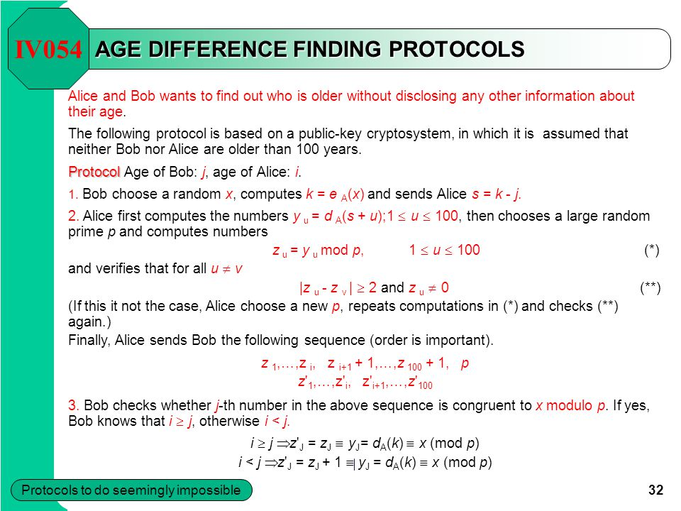 32 Protocols to do seemingly impossible AGE DIFFERENCE FINDING PROTOCOLS Alice and Bob wants to find out who is older without disclosing any other information about their age.