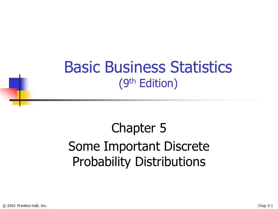 © 2003 Prentice-Hall, Inc.Chap 5-1 Basic Business Statistics (9 th Edition) Chapter 5 Some Important Discrete Probability Distributions