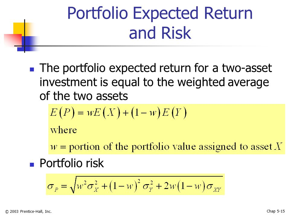 © 2003 Prentice-Hall, Inc. Chap 5-15 Portfolio Expected Return and Risk The portfolio expected return for a two-asset investment is equal to the weigh