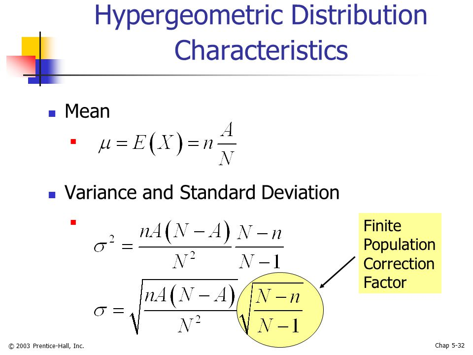 © 2003 Prentice-Hall, Inc. Chap 5-32 Hypergeometric Distribution Characteristics Mean Variance and Standard Deviation Finite Population Correction Fac