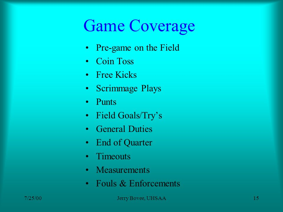 7/25/00Jerry Bovee, UHSAA14 Pre-game Discussion & Evaluation Other Issues Rules Changes/Differences NCAA Special Coverage Hurry-up offenses Weather Su