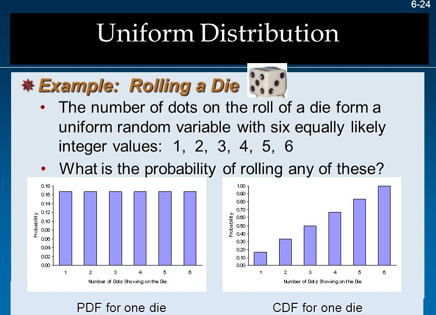 6-24 The number of dots on the roll of a die form a uniform random variable with six equally likely integer values: 1, 2, 3, 4, 5, 6The number of dots