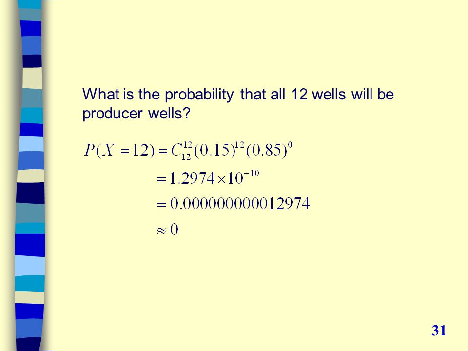 What is the probability that all 12 wells will be producer wells 31