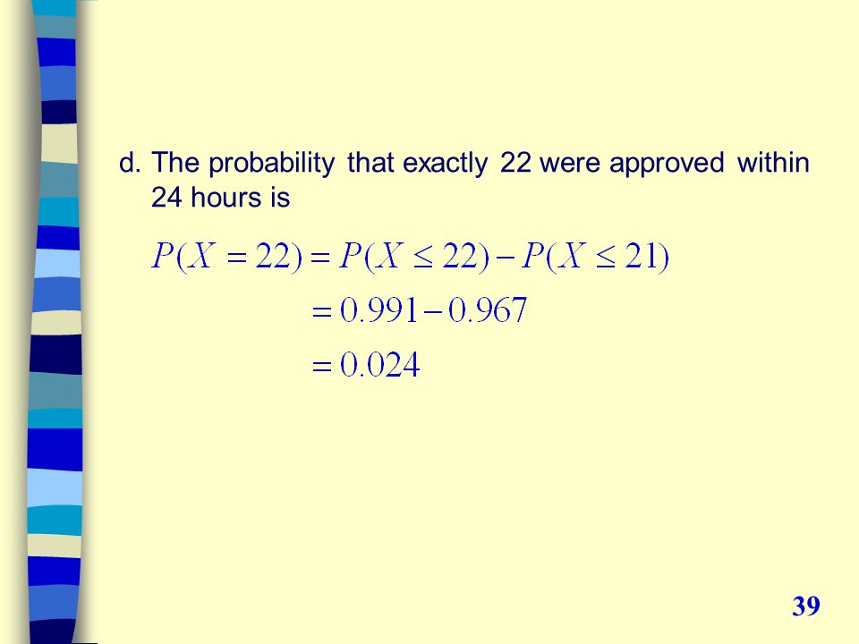 d.The probability that exactly 22 were approved within 24 hours is 39