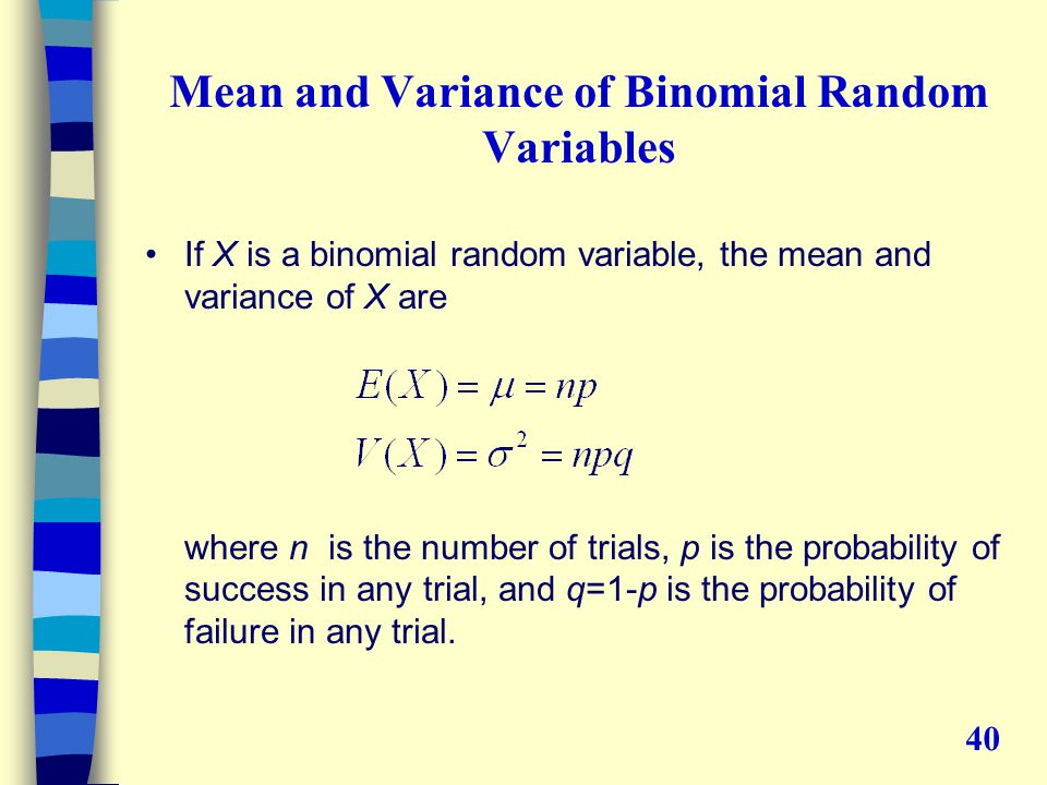 Mean and Variance of Binomial Random Variables If X is a binomial random variable, the mean and variance of X are where n is the number of trials, p is the probability of success in any trial, and q=1-p is the probability of failure in any trial.